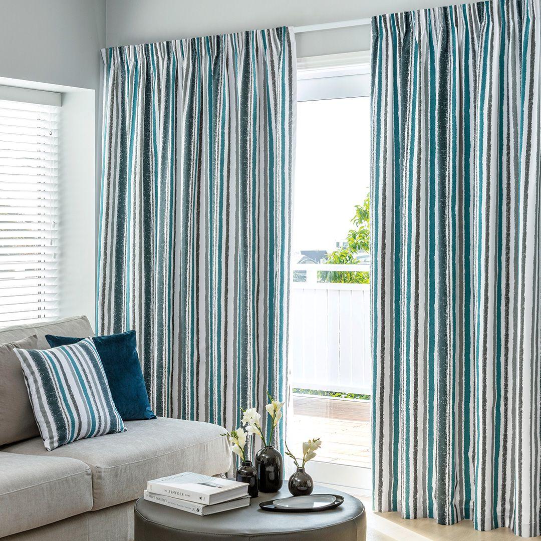 Jordan Teal - Readymade Thermal Pencil Pleat Curtain ...