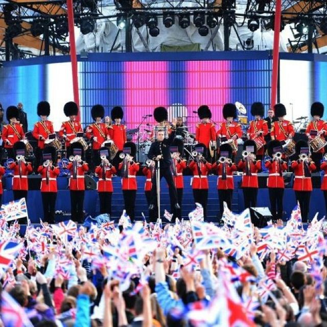 Robbie Williams in concert at the Queen's Diamond jubilee.