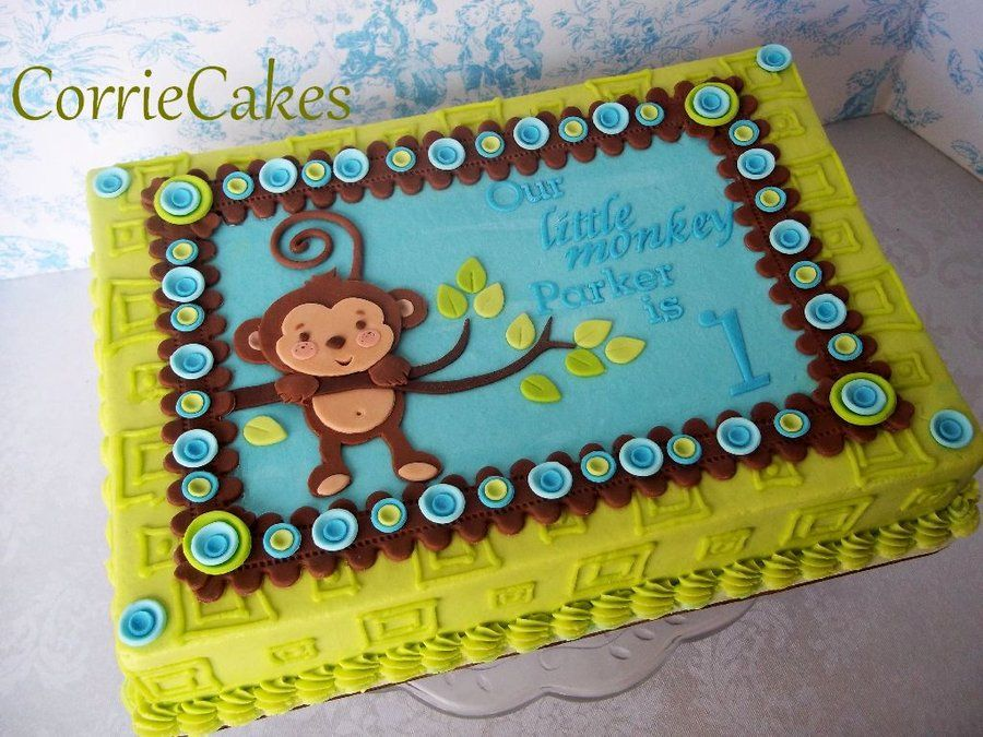 Marvelous Monkey 1St Birthday By Corrie Cakesdecor Com Cake Decorating Birthday Cards Printable Trancafe Filternl