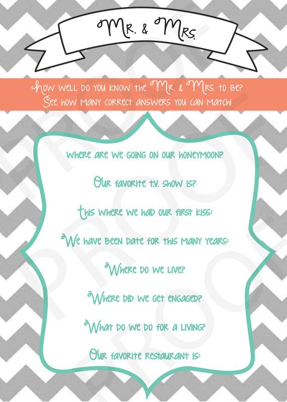 Bridal Shower How Well Do You Know The Mr Mrs To Be Orange And Grey Color Scheme Only Customization Not Included