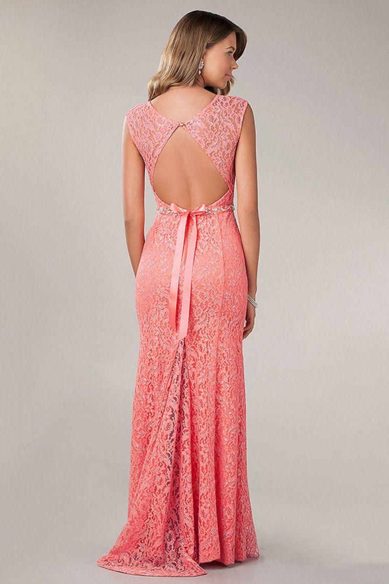 2014 New Arrival Scoop Neckline Sheath/Column Open Back Prom Dress ...