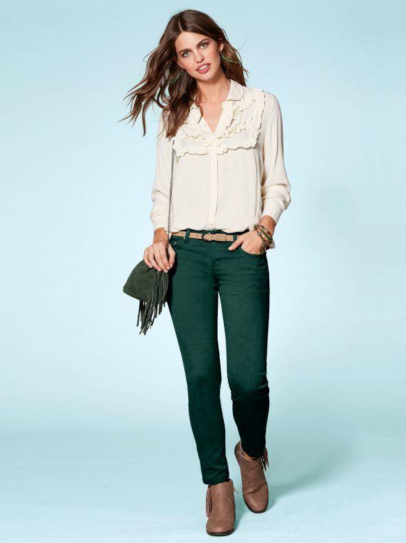 Pantalon Largo Mujer Elastico Clasico Pantalones Verdes Mujer Ropa Ropa Casual