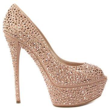 Embellished Peep-Toe Leather Pumps...mercedeh-shoes <3