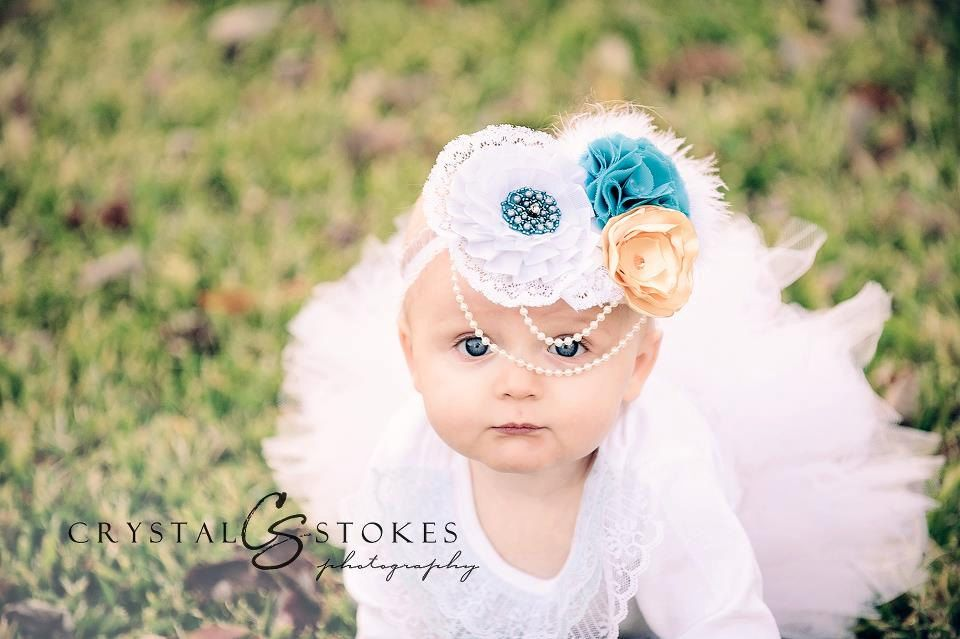 Lovely Vintage Blue and Gold Headband