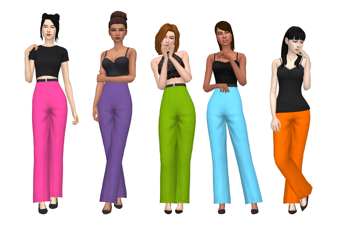 sims 4 mm cc maxis match flared trousers colourful