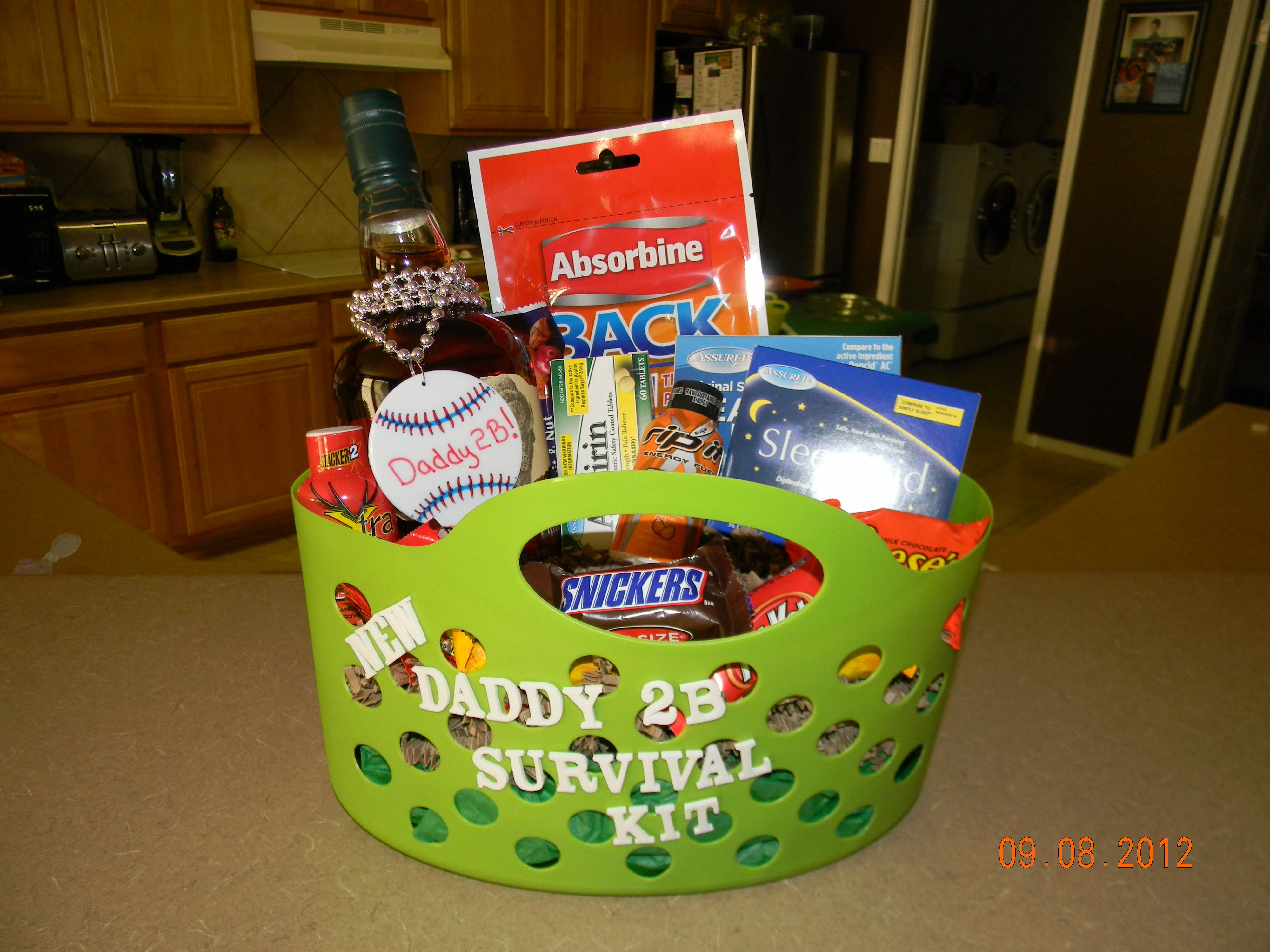 Daddy Survival Kit Daddys Favorite Whiskey, Candy, Heartburn Relief, Sleep