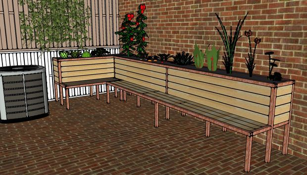 Backyard Planter And Seating Backyard Backyard Planters Backyard Plan