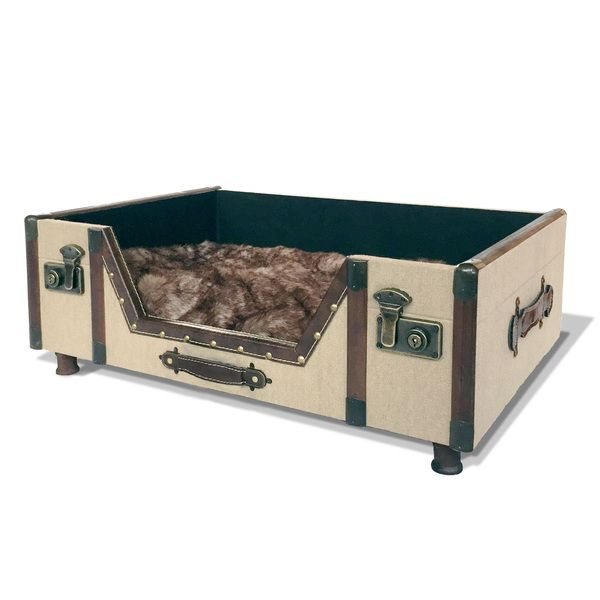 Bombay Company Carlisle Canvas Trunk Bed with Faux Fur Cushion