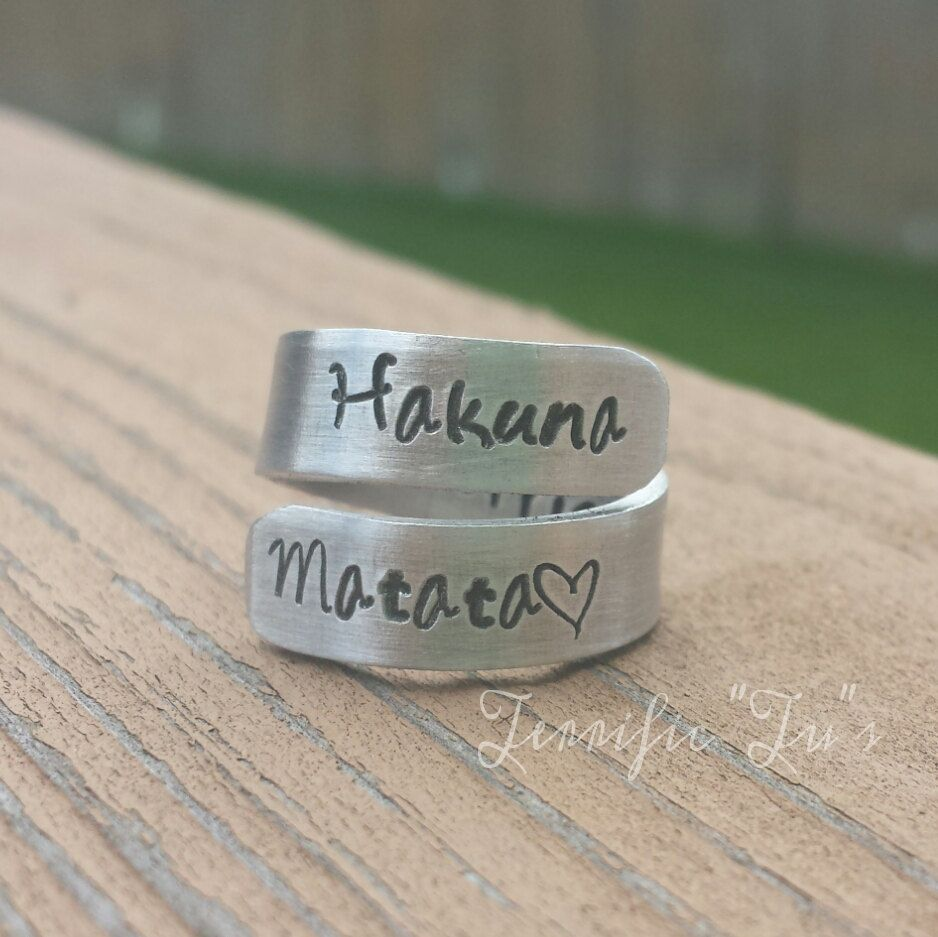 Upgraded Personalized Hand Stamped Wrap Ring Inside by TerrificTus, #hakunamatata #noworries #jewelry