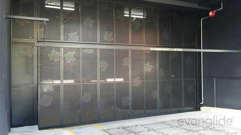 Custom Perforated Aluminium Garage Door Line Graphic For