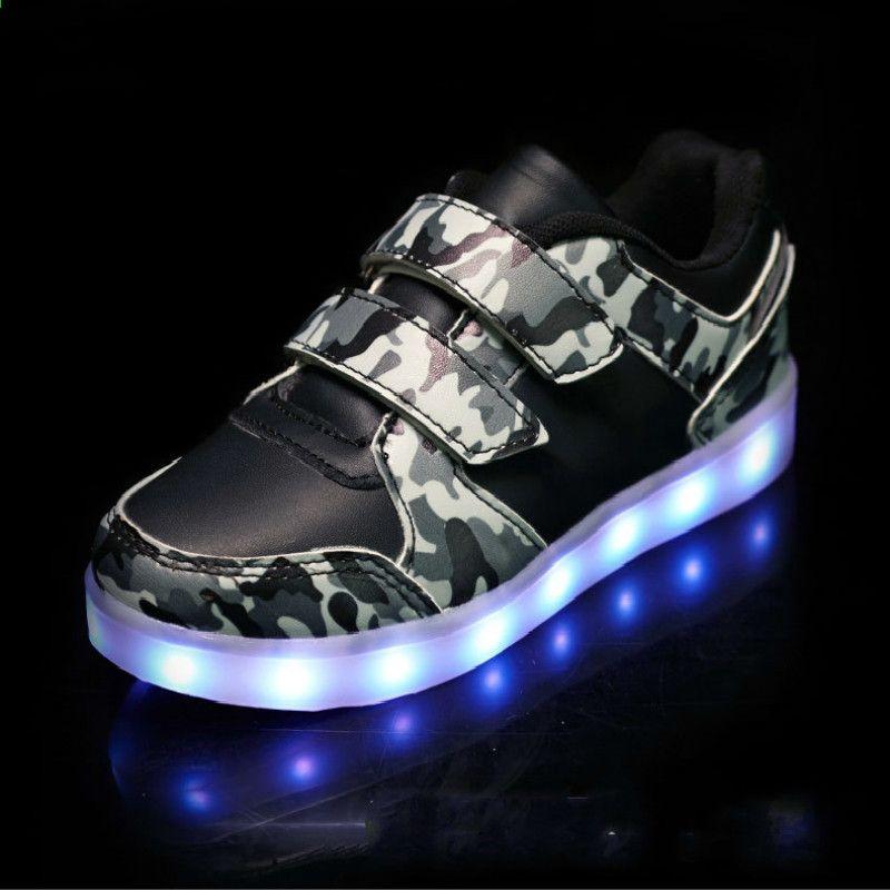2018 Jesien Dzieci Swiecace Trampki Zielen Wojskowa Usb Buty Ladowania Dla Chlopcow Led Lekkie Buty Dzieci Sportow Light Up Sneakers Kid Shoes Girls Shoes Kids