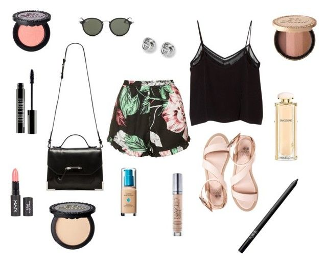 """M"" by butnotperfect ❤ liked on Polyvore featuring even&odd, Topshop, MANGO, Mackage, FOSSIL, Ray-Ban, Urban Decay, Salvatore Ferragamo, Too Faced Cosmetics and Lord & Berry"