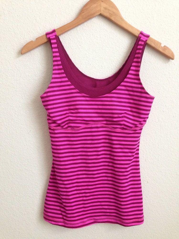 Lululemon Raspberry Glo Pink Plum Stripe Tank size 4 RARE #Lululemon #SportsBrasBraTops