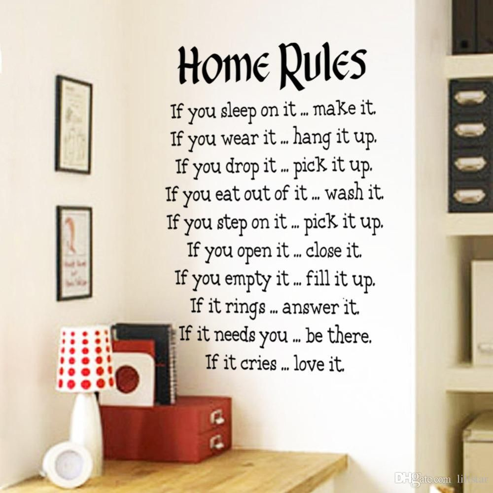 home rules wall sticker quotes decor vinyl art decals sign decal stickers