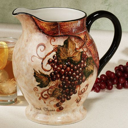 wine cellar pitcher grape kitchen decor wine theme kitchen wine decor kitchen on kitchen decor pitchers carafes id=89558