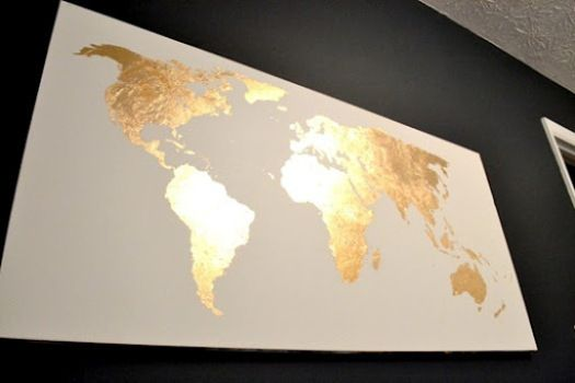 Pinterest challenge gold leaf map art leaves crafty and dorm diy golden world map i want to try this definitely world map gumiabroncs Gallery