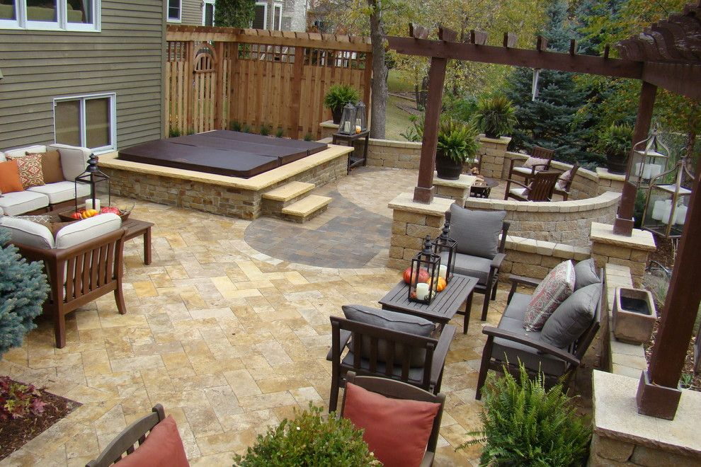find this pin and more on fire pits built in hot tubs patio - Hot Tub Patio Designs
