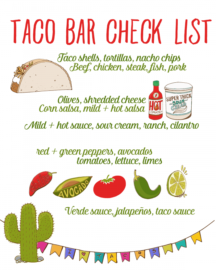 e9d693baf9cf Download this taco bar checklist printable so that you never forget an  essential item for your next taco bar! Host a taco party and enjoy!