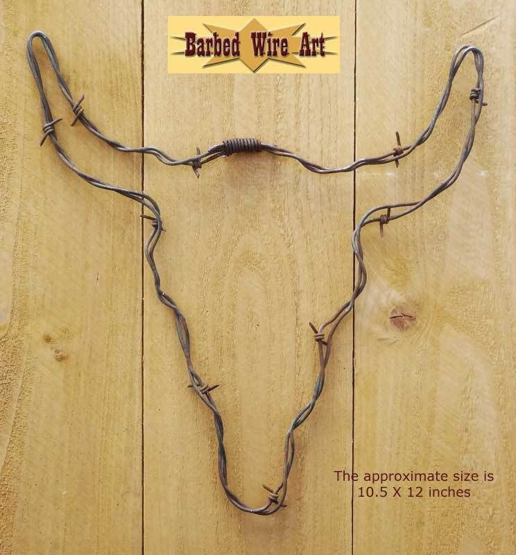 Steer Head - Cow bull texas sculpture hanging barbed wire art ...