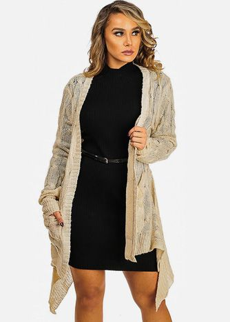 Beige Cable-Knit Open-Front Cardigan wth Pockets