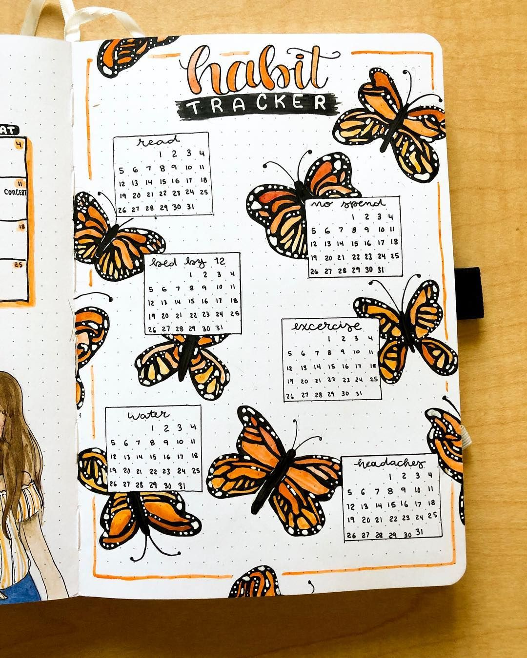 "Steph's Bullet Journal � on Instagram: ""Here's my May habit tracker! Man have the butterflies taken a lot of my time lately lol but I really love the results �� . . . . .…"""