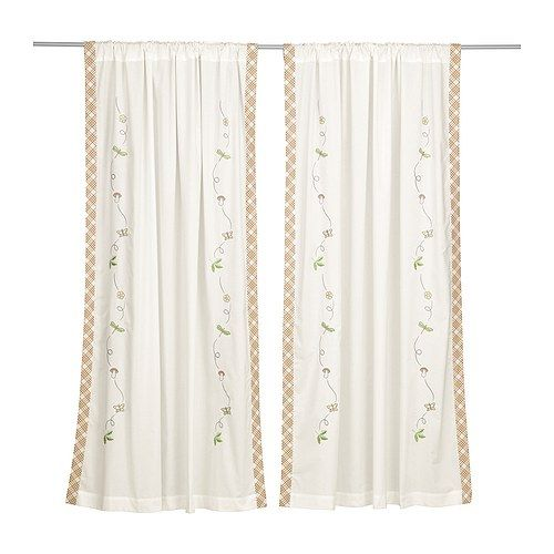 VANDRING Pair Of Curtains IKEA Embroidered Motifs Ready To Hang Hidden Tabs At Top