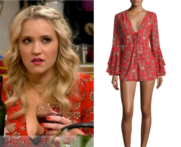 67b87908c7bb ShopYourTv Young   Hungry  Season 3 Episode 9 Gabi s Red Floral Playsuit -  ShopYourTv