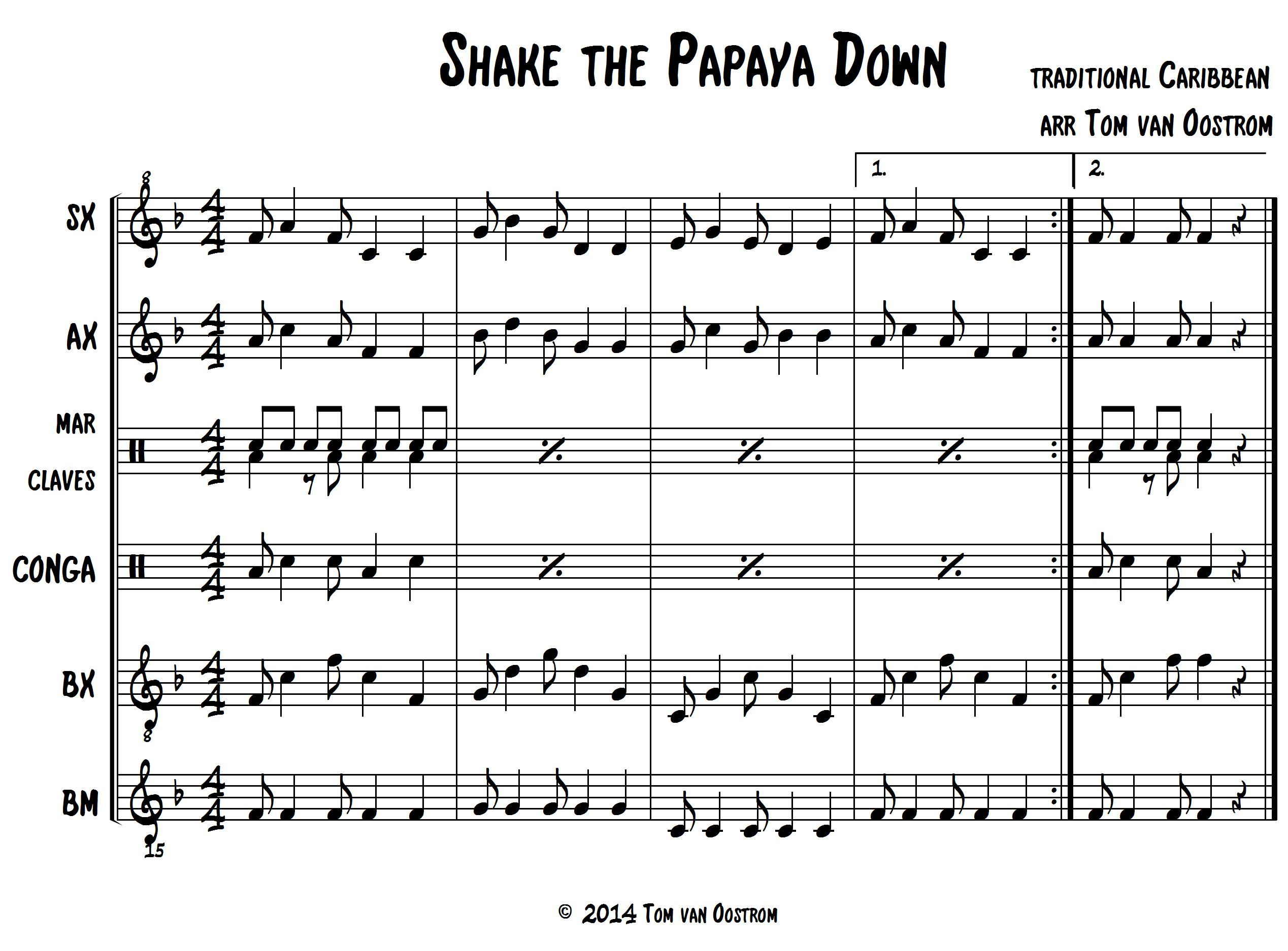 "Shake the Papaya Down"" Marimba Band Arrangement 