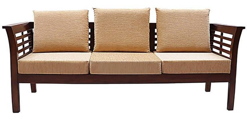 Buy Mariana Teak Wood Three Seater Sofa In Natural Teak Finish By Finesse  Online: Shop