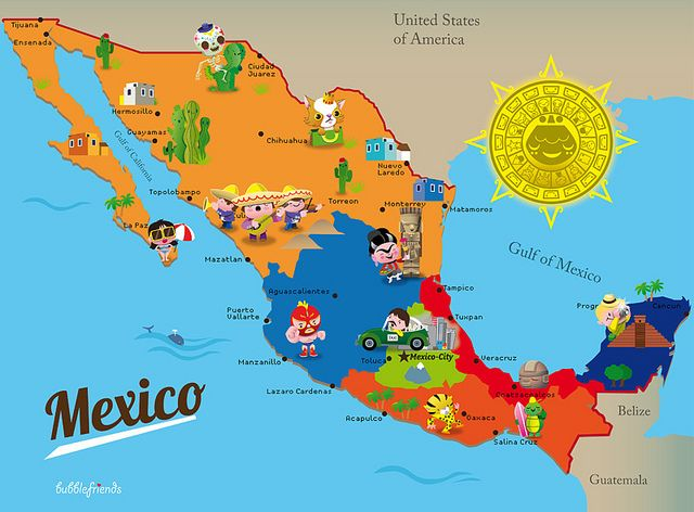 Map Of Mexico I've Been Seeing A Lot Maps Like This With: Map Pf Mexico At Infoasik.co