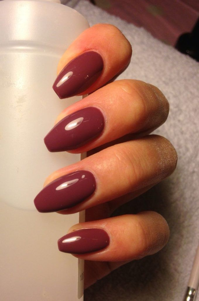 EASY BALLERINA SHAPED GEL NAILS WITH MAROON COLOR | Anchor Nails ...