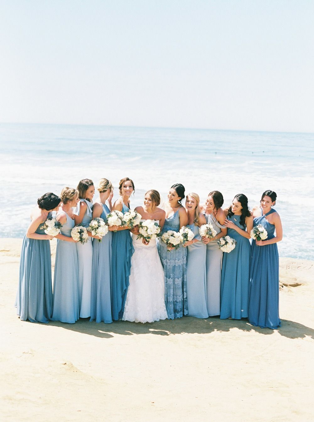 blue beach wedding bridal party