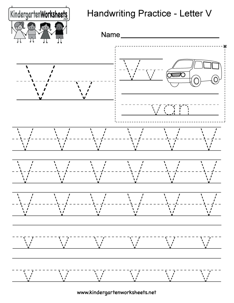 Letter V Handwriting Worksheet For Kindergarteners. You Can Download,  Print, Or Use It Online.