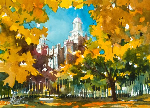 Logan Lds Temple Logan Utah Lds Art Temple Watercolor Lds Art