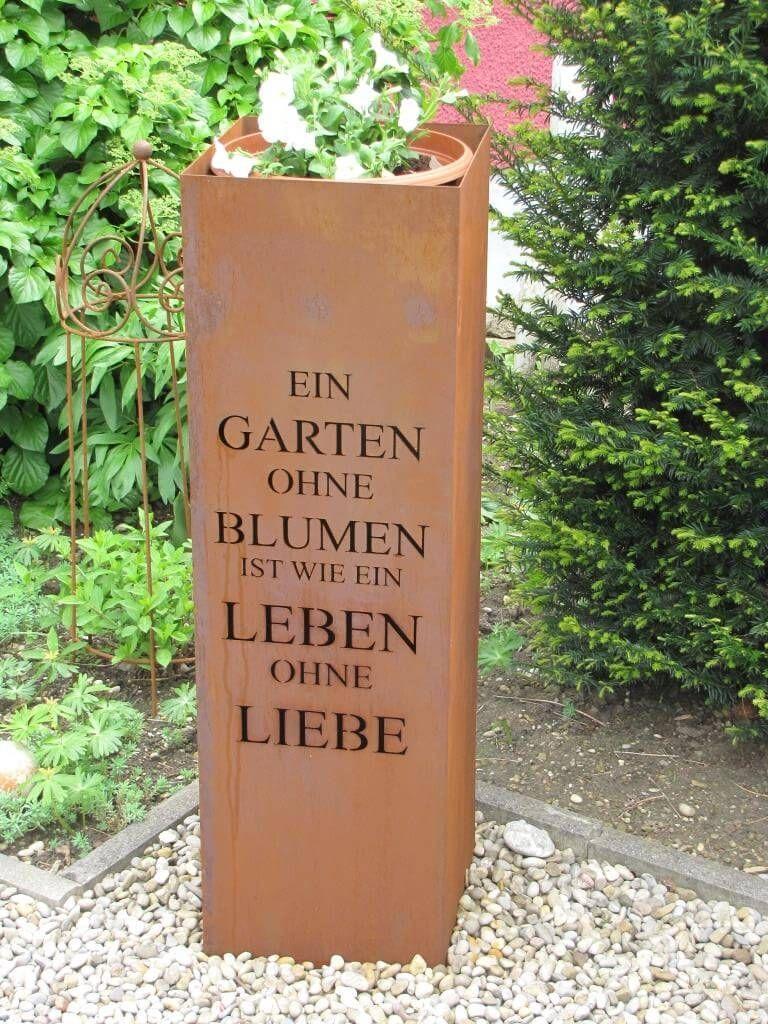 Edelrost Saule Gedicht Garten Edelrost Garden Design Layout Garten Gedicht Saule Garden Makeover Garden Design Layout Flower Care