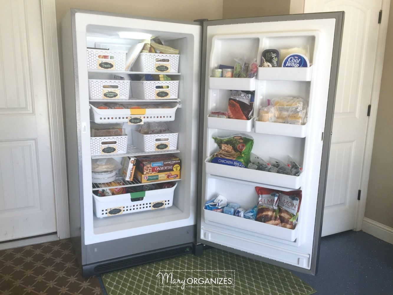 How To Organize A Stand Up Freezer In The Garage Freezer Storage Organization Deep Freezer Organization Diy Pantry Organization