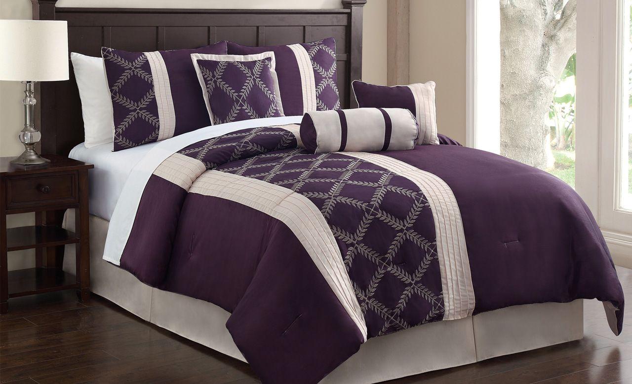 7 Piece Julius Plum/Ivory Embroidered Comforter Set