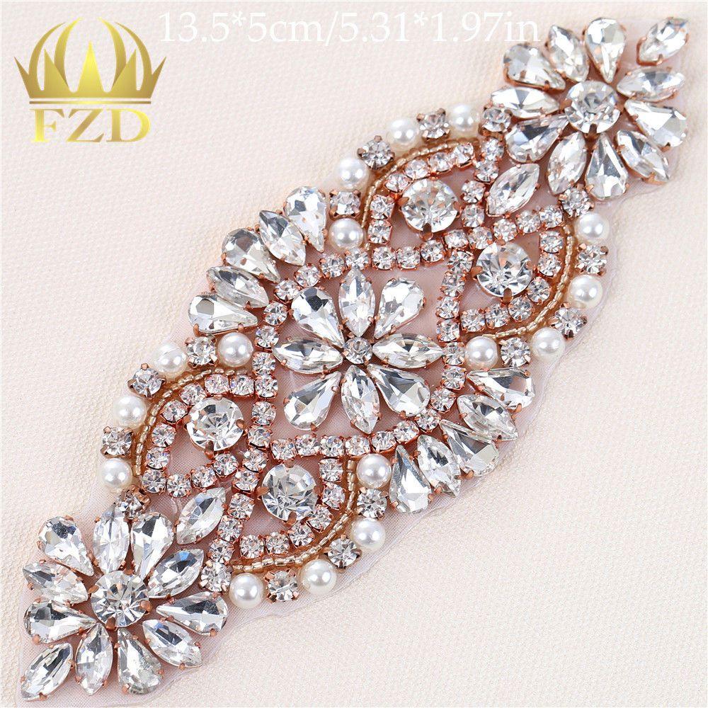 Rose Gold Crystal Rhinestone Applique Iron on Wedding
