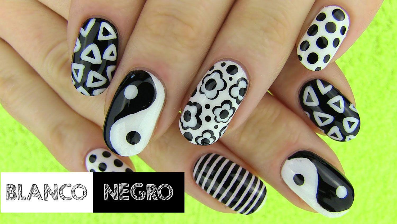 Uñas decoradas en blanco y negro | Decoración de Uñas - Manicura y ...