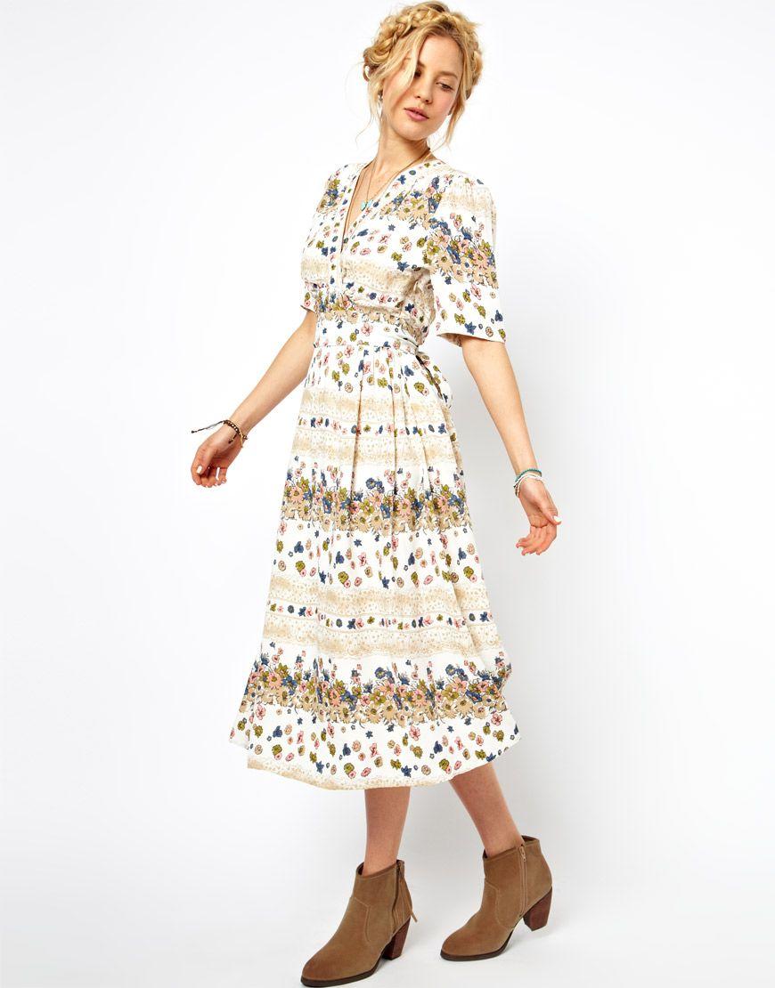 ASOS Midi Dress In Vintage Floral Print | Dress Me Up + Down | Pinterest