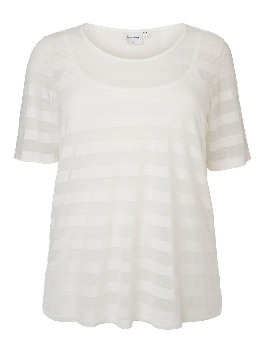 JUNAROSE Striped Short Sleeved Top Women White Discount Low Shipping Fee Best Seller Online Sale Genuine q8kYM1I