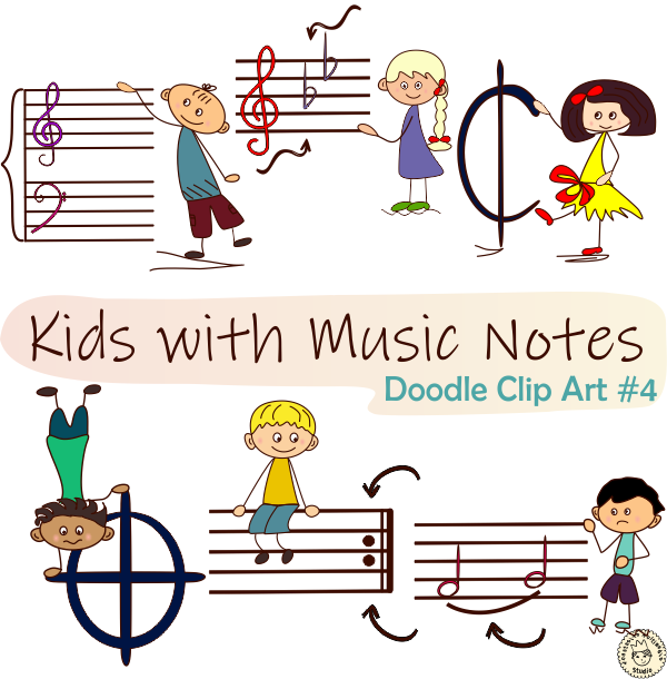 This Cute Music Clipart Bundle Can Be Used To Create Fun Music Games That Will Teach Your Students The Different Notes And Sy Music Notes Clip Art Note Doodles