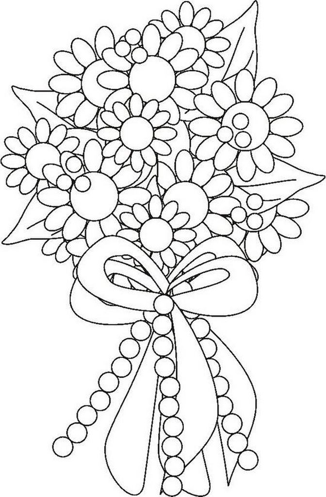 Flower Bouquet Coloring Page Flower Coloring Pages Spring Coloring Pages Wedding Coloring Pages