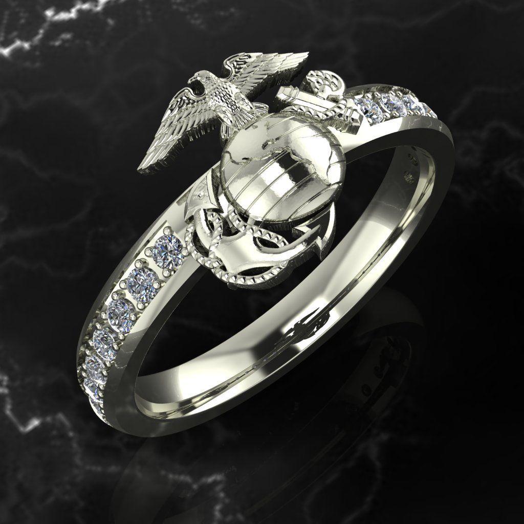 Woman marines diamond ega 14k gold ring Usmc ring