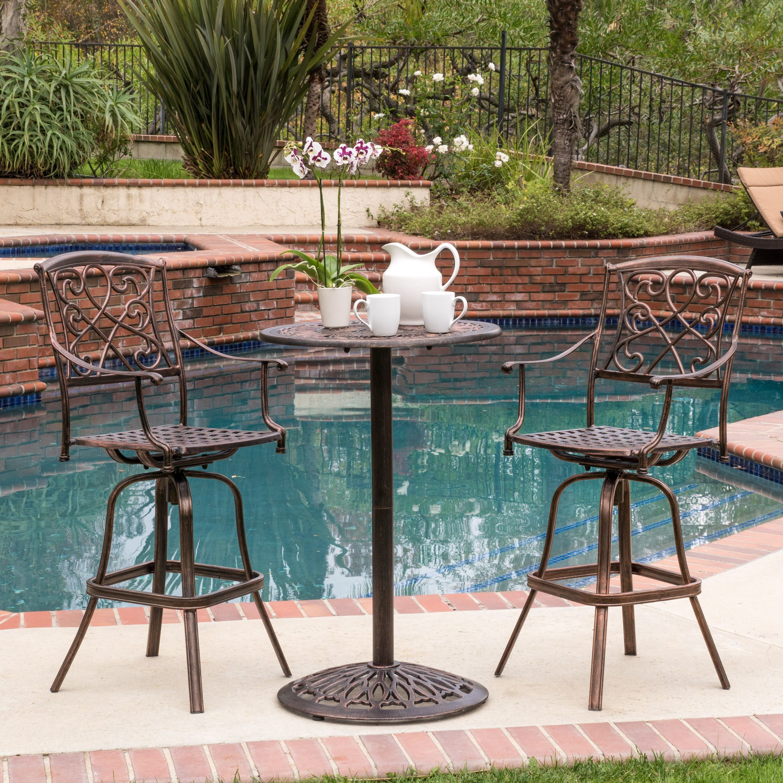 Santa Maria Outdoor Cast Aluminum Round Bar Table Only By Christopher Knight Home Copper Brown Patio Furniture