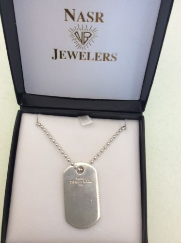 4024f9342 Tiffany & Co. Sterling 925 Silver Coin Edge Dog Tag Pendant With Chain ...