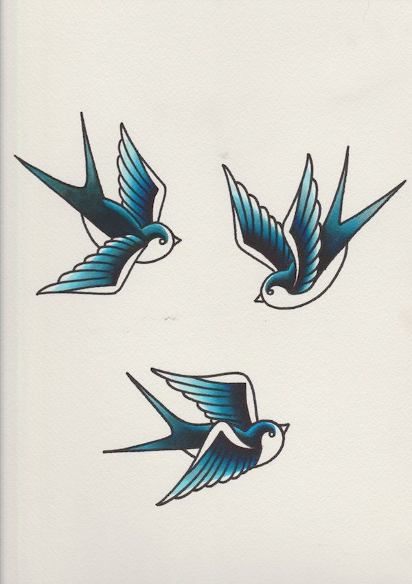 Swallows With Blue Watercolour Ink Overlay Added Tattoo