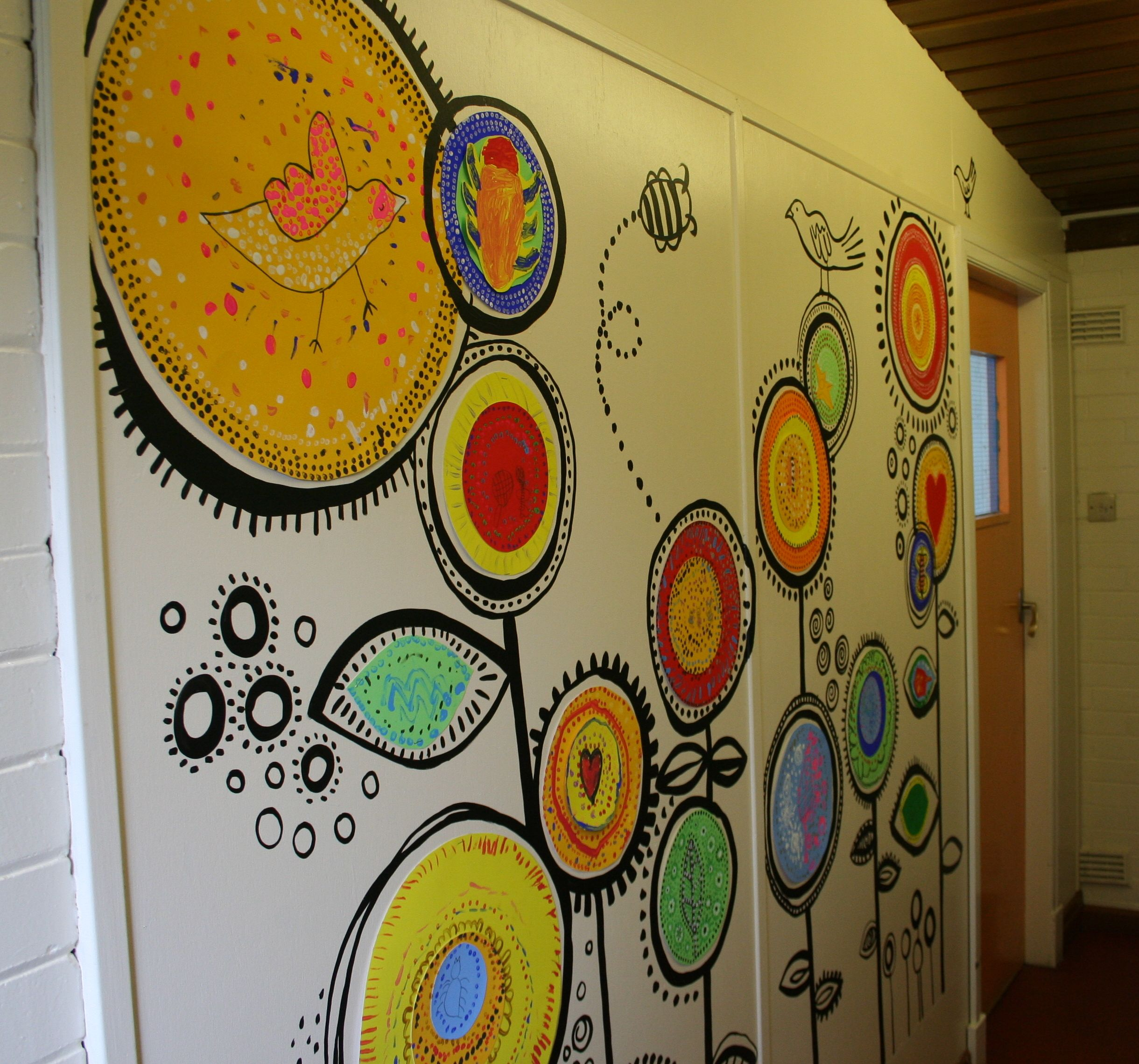 Temporary Wall Art Created With Reception Age Pupils Www Cathintheattic