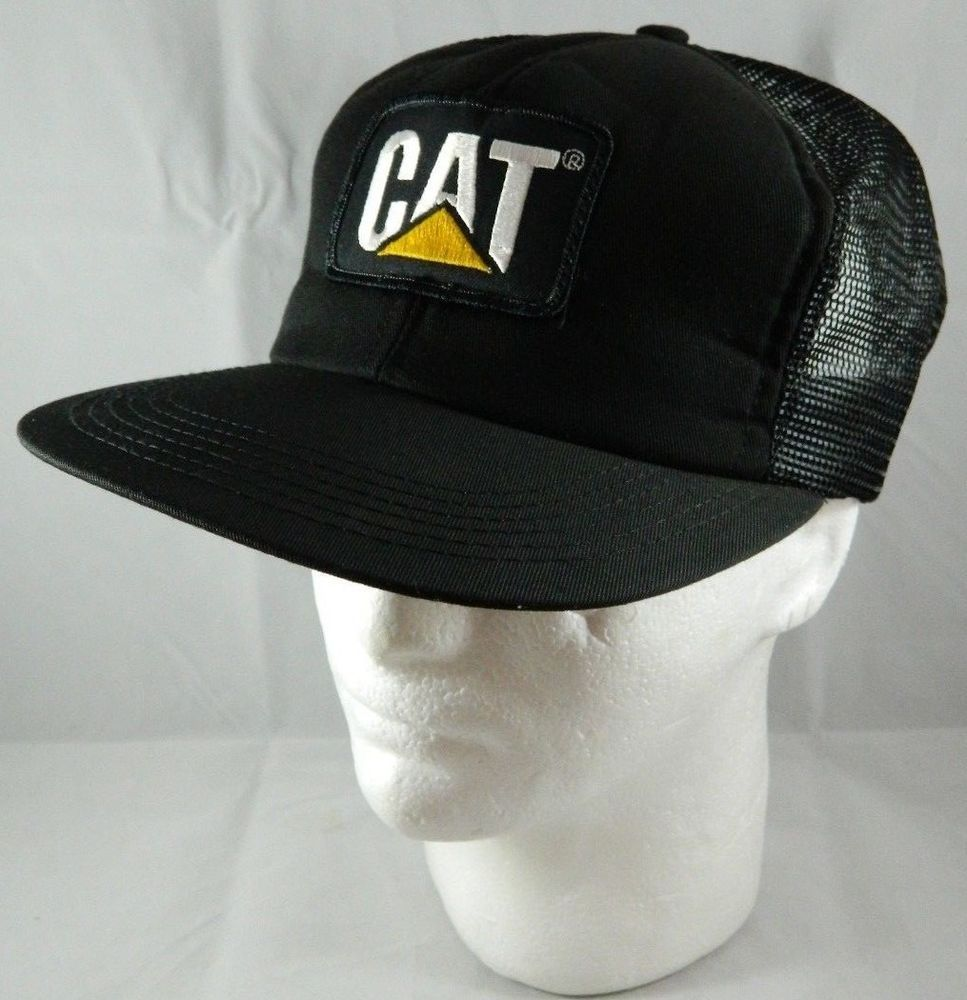 Vintage Black Mesh Trucker Hat CAT Patch Caterpillar