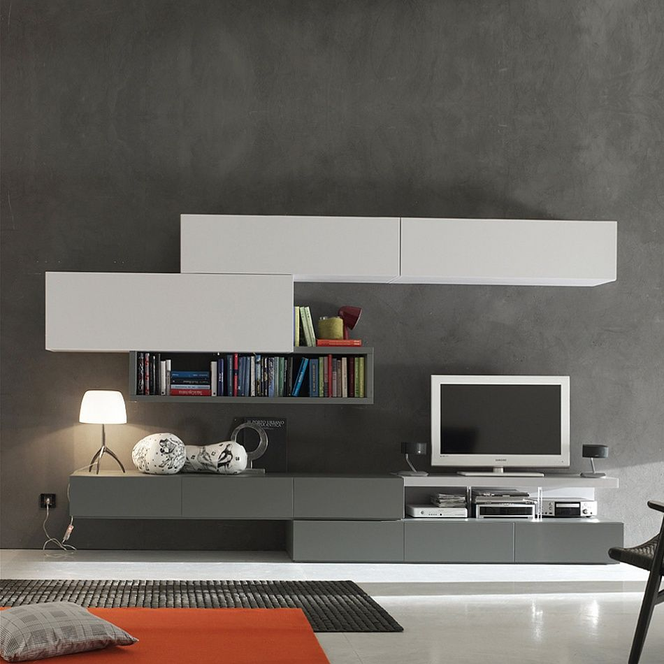 Modern Italian Tv Media Unit Grey White By Santa Lucia Tv  # Solution Meuble Tv